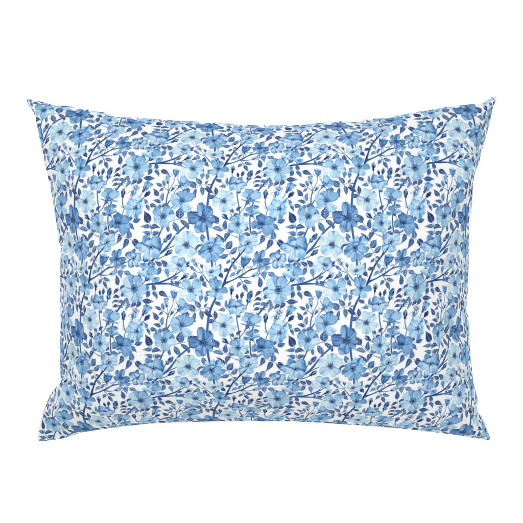 Campine Pillow Sham featuring Small Scale Blue Rose Pattern Small by mygiantstrawberry