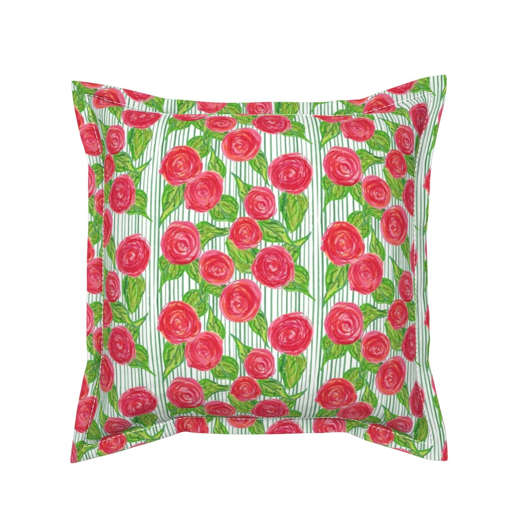 Serama Throw Pillow featuring Climbing Rose Trellis by lisakling
