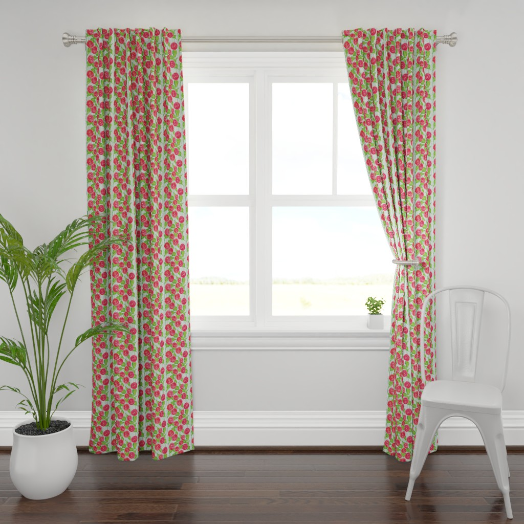 Plymouth Curtain Panel featuring Climbing Rose Trellis by lisakling