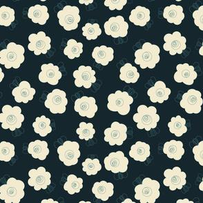 Fluffy Flowers – Cream on Navy