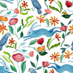Natures Gardeners. A wildlife habitat: bees, butterflies, birds, rabbits