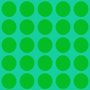 Green Dots on Greenish Blue Medium - Spring Dots