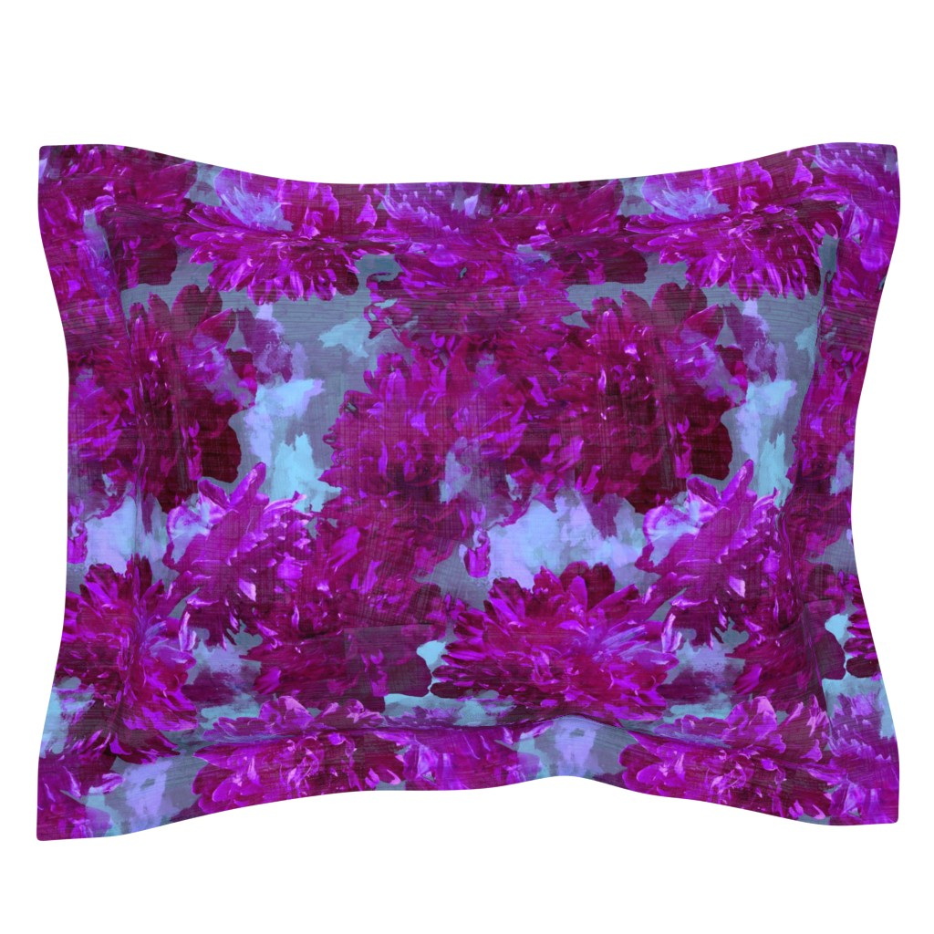 Sebright Pillow Sham featuring magenta peonies with aqua floral by karismithdesigns