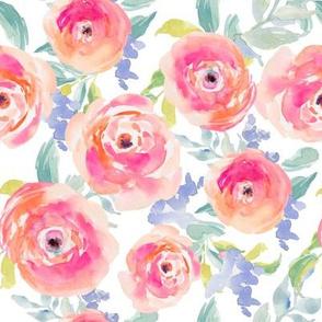 Wild Pink Watercolor Ranunculus 200%