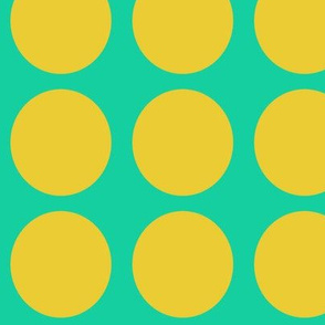 Yellow Dots on Greenish Blue Large - Spring Dots