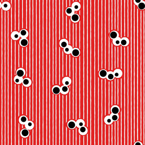 Triple Dot and Stripes Red