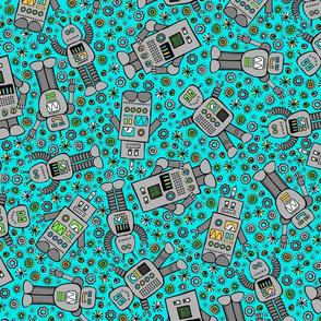 Retro Robots (Teal)