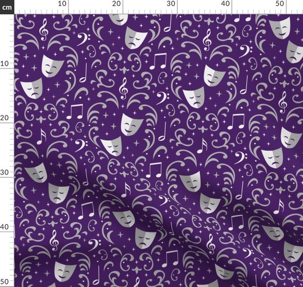 Theater Damask Purple And Silver Spoonflower
