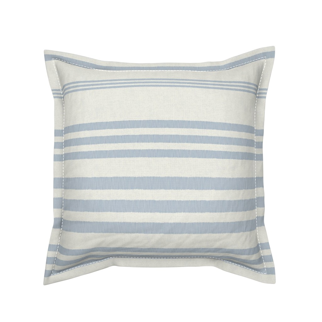 Serama Throw Pillow featuring Country Linen Varied Stripes Blue by patricia_braune