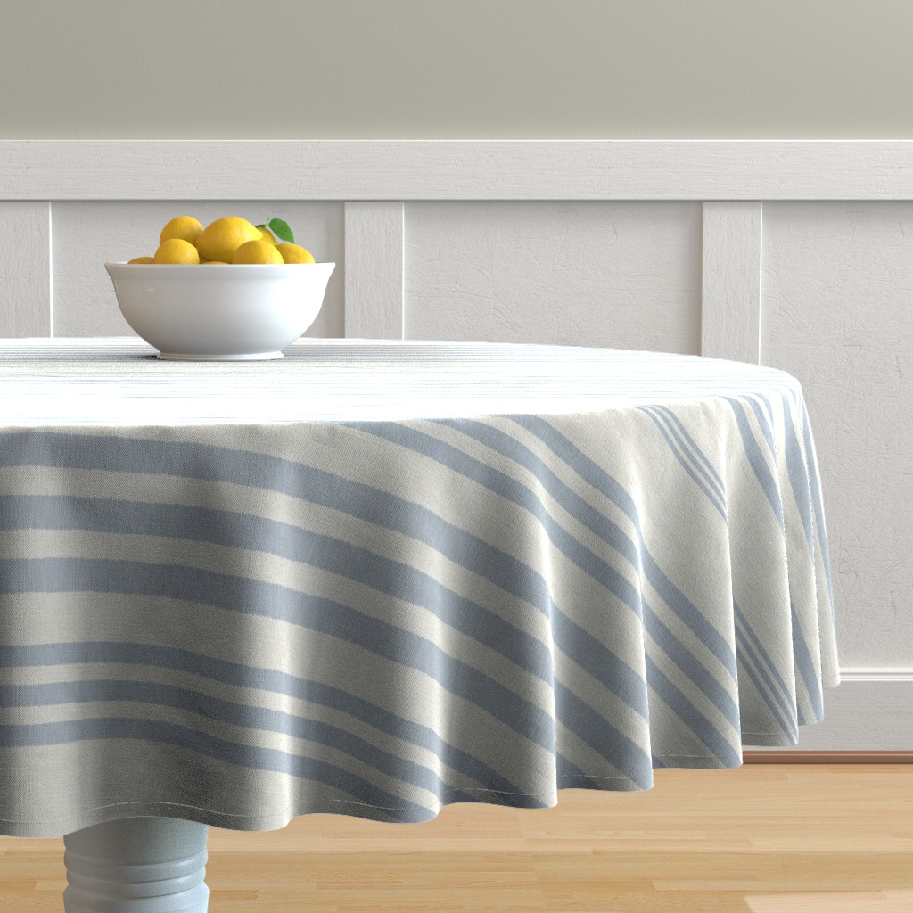 Malay Round Tablecloth featuring Country Linen Varied Stripes Blue by patricia_braune