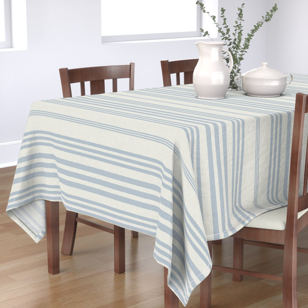 Bantam Rectangular Tablecloth featuring Country Linen Varied Stripes Blue by patricia_braune