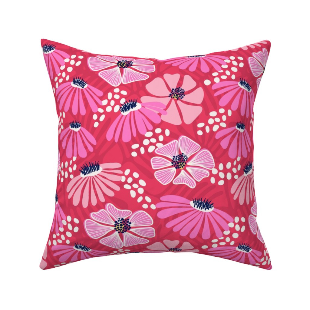 Catalan Throw Pillow featuring Bold & bright flowers - pink by vivdesign