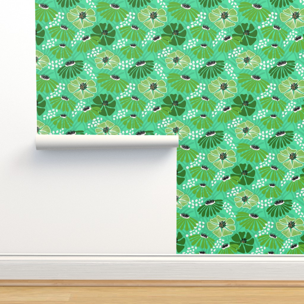 Isobar Durable Wallpaper featuring Bold & bright flowers - green by vivdesign