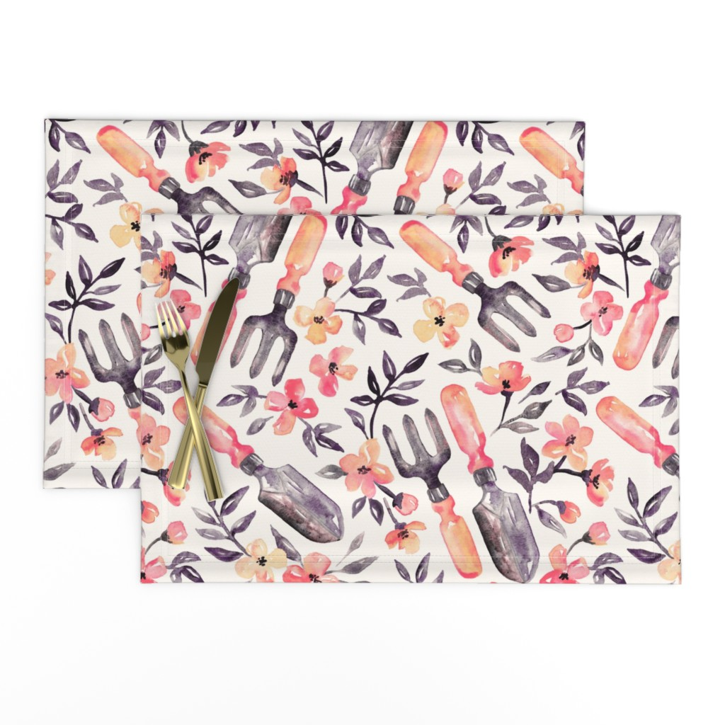 Lamona Cloth Placemats featuring Spring Gardening - peach blossoms on cream by micklyn