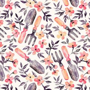 Spring Gardening - peach blossoms on cream