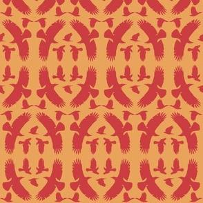 Circle of Crows (Red-Orange on Orange)