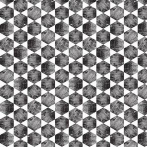 Black and White Hexagonal Block Print