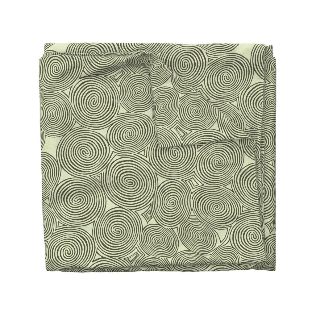 Wyandotte Duvet Cover featuring spirals-lichen_logs by wren_leyland