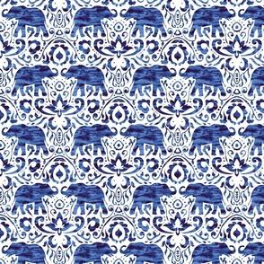Elelphant Damask Watercolor Dark Blue