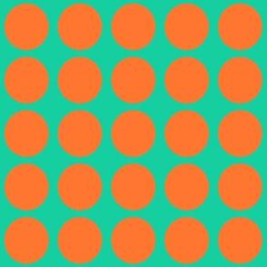 Orange Dots on Greenish Blue Medium - Spring Dots
