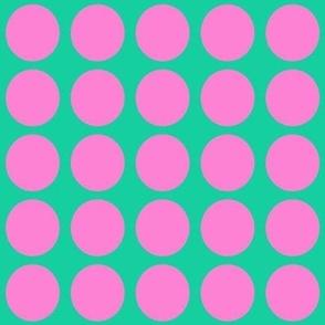 Purple Dots on Greenish Blue Medium - Spring Dots