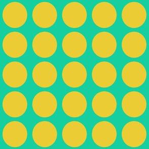 Yellow Dots on Greenish Blue Medium - Spring Dots