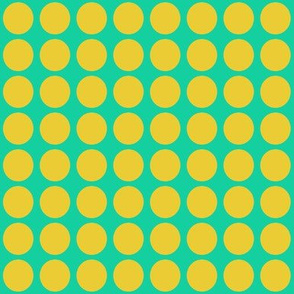 Yellow Dots on Greenish Blue Small - Spring Dots