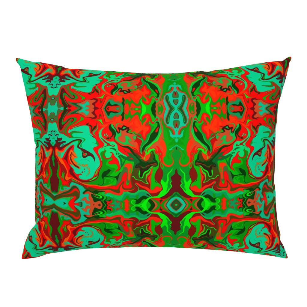Campine Pillow Sham featuring BN9 - Marbled Mystery Tapestry in Greens - Turquoise - Maroon  - Orange - large scale by maryyx