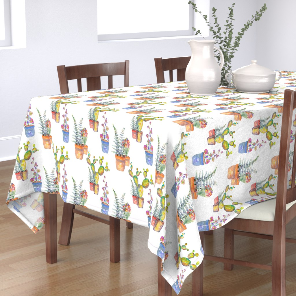 Bantam Rectangular Tablecloth featuring WATERCOLOR GARDENING BY PAYSMAGE by paysmage