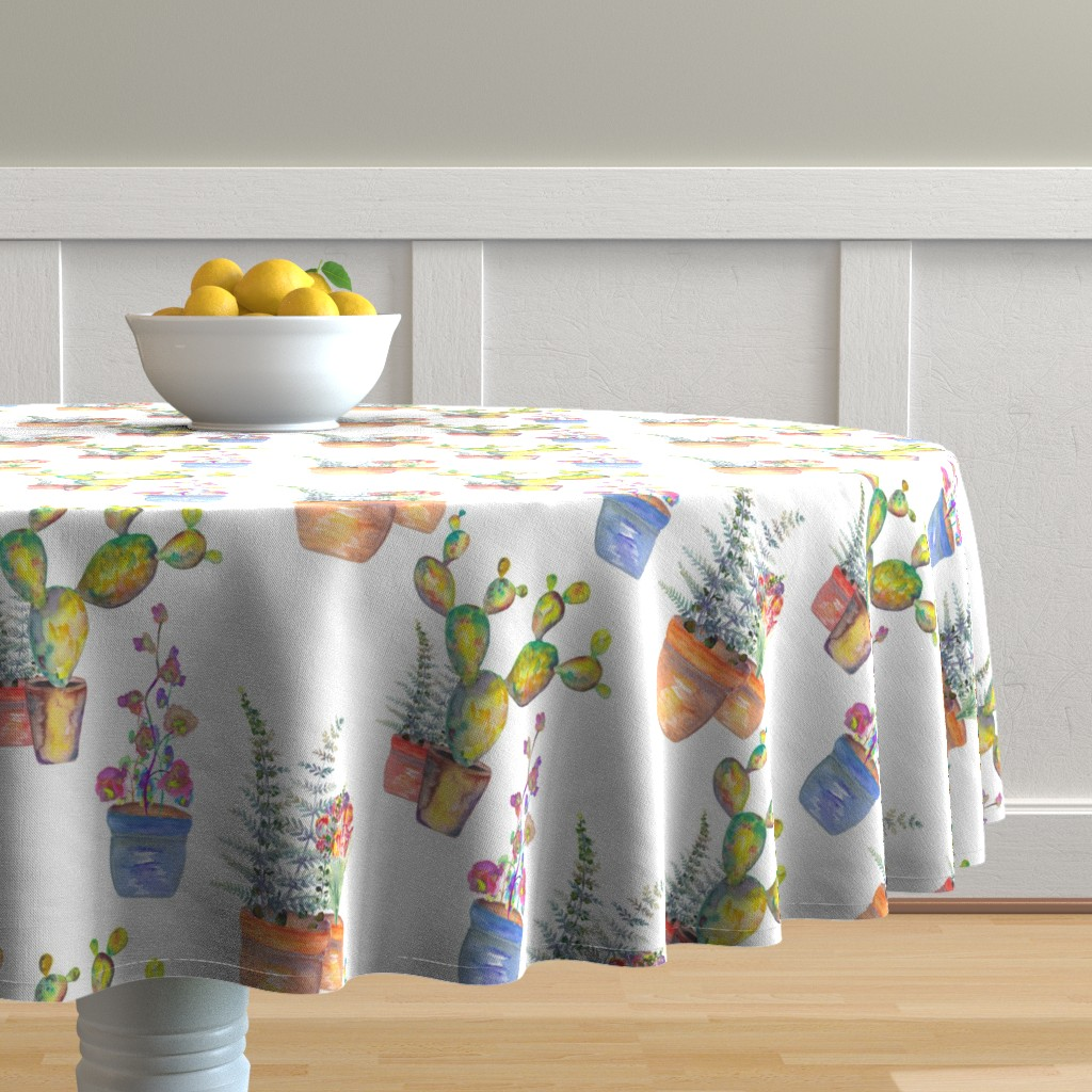 Malay Round Tablecloth featuring WATERCOLOR GARDENING BY PAYSMAGE by paysmage