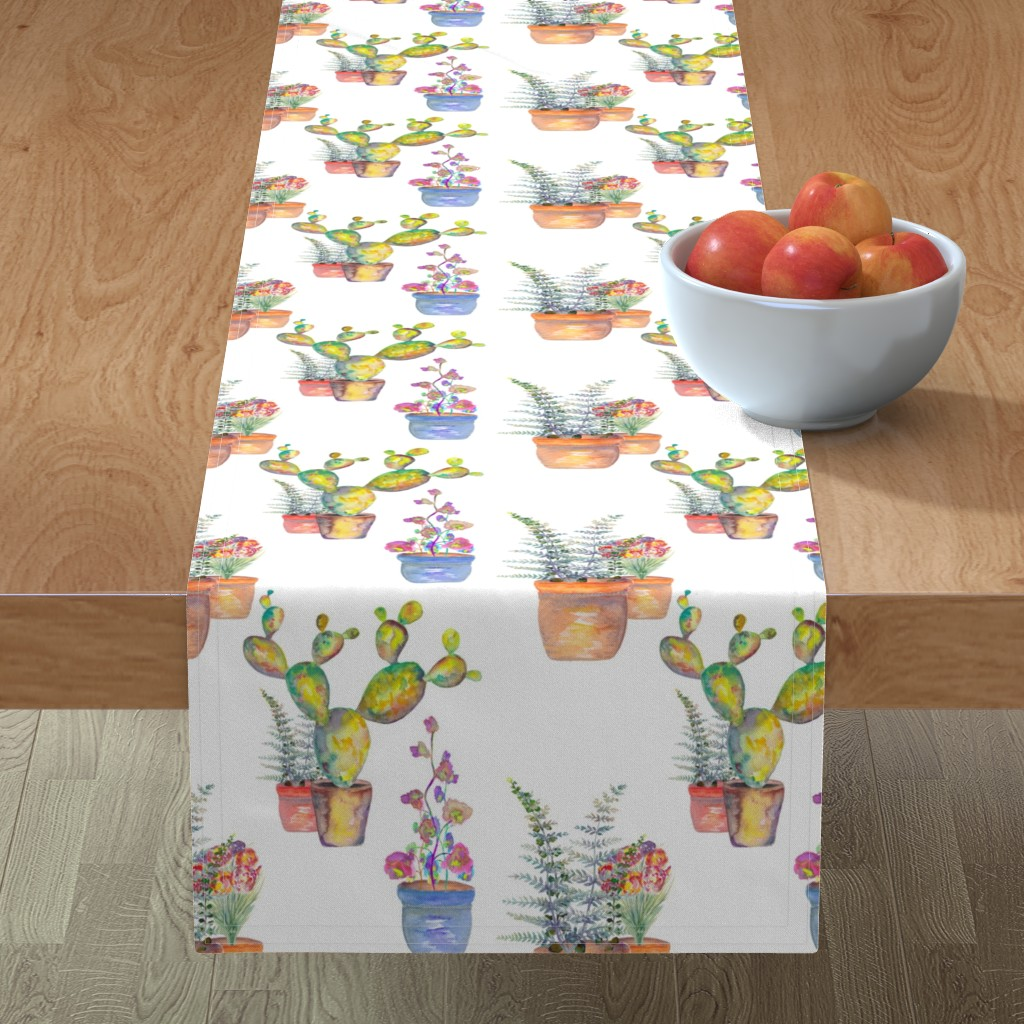 Minorca Table Runner featuring WATERCOLOR GARDENING BY PAYSMAGE by paysmage