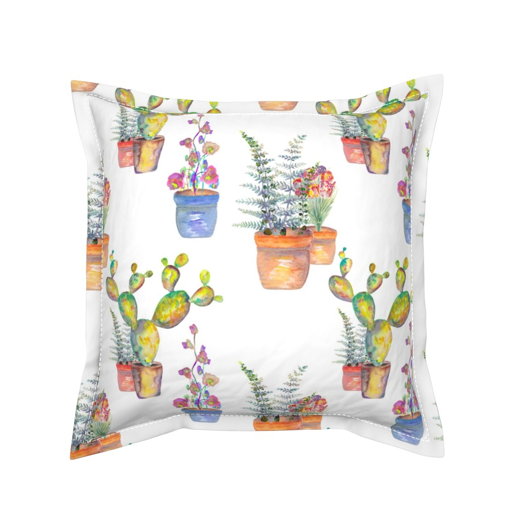 Serama Throw Pillow featuring WATERCOLOR GARDENING BY PAYSMAGE by paysmage