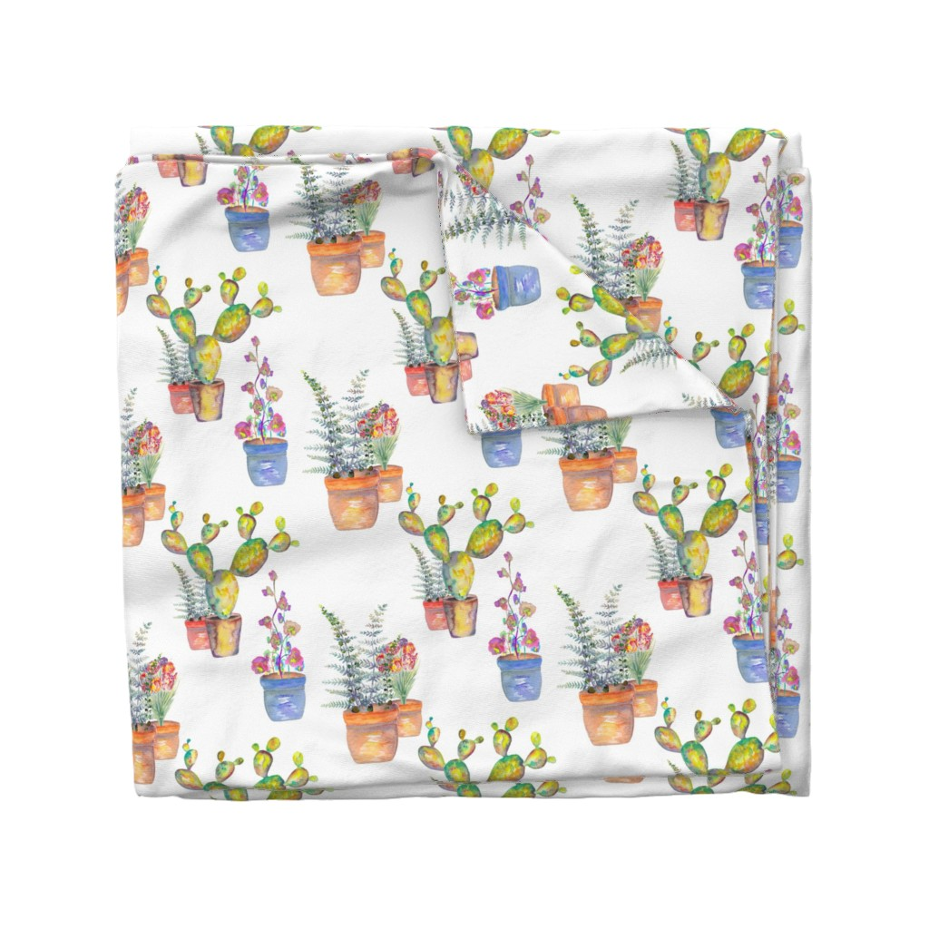 Wyandotte Duvet Cover featuring WATERCOLOR GARDENING BY PAYSMAGE by paysmage