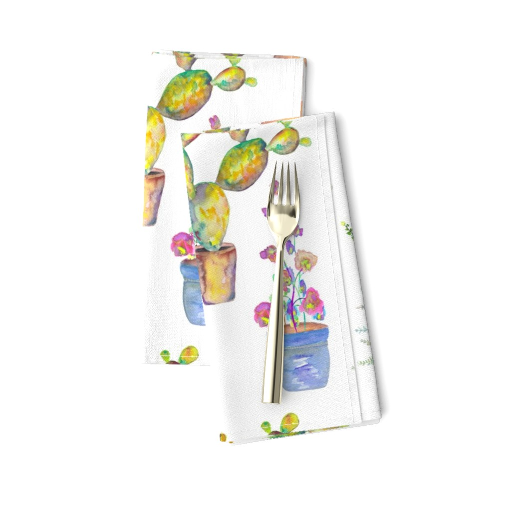 Amarela Dinner Napkins featuring WATERCOLOR GARDENING BY PAYSMAGE by paysmage