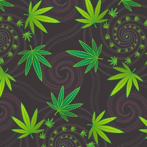 ★ SPIRALING WEED with SEED ★ Green & Dark Gray - Large Scale/ Collection : Cannabis Factory 1 – Marijuana, Ganja, Pot, Hemp and other weeds prints
