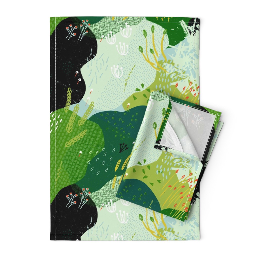 Orpington Tea Towels featuring Moss Garden M+M Greens by Friztin by friztin