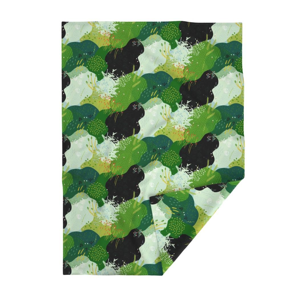 Lakenvelder Throw Blanket featuring Moss Garden M+M Greens by Friztin by friztin