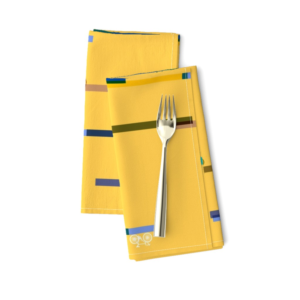 Amarela Dinner Napkins featuring Modern Frontier Cycling Stripes Sunshine by agregorydesigns