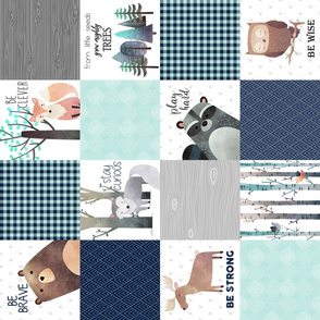 Woodland Critters Patchwork Quilt (rotated)- Bear Moose Fox Raccoon Wolf, Navy & Crystal Blue Design GingerLous