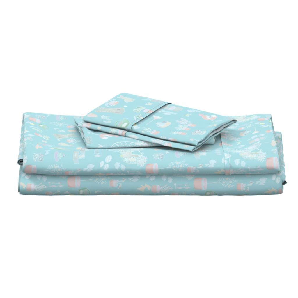 Langshan Full Bed Set featuring Blue Gardening by stasiajahadi