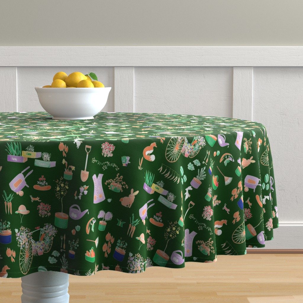Malay Round Tablecloth featuring Green Gardening by stasiajahadi