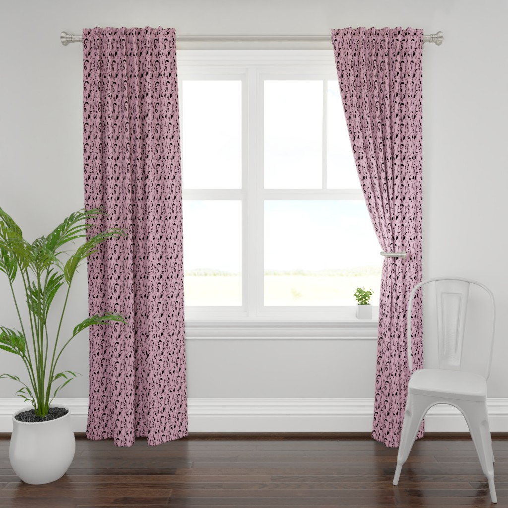 Plymouth Curtain Panel featuring Antique Spoons on Pink // Small by thinlinetextiles