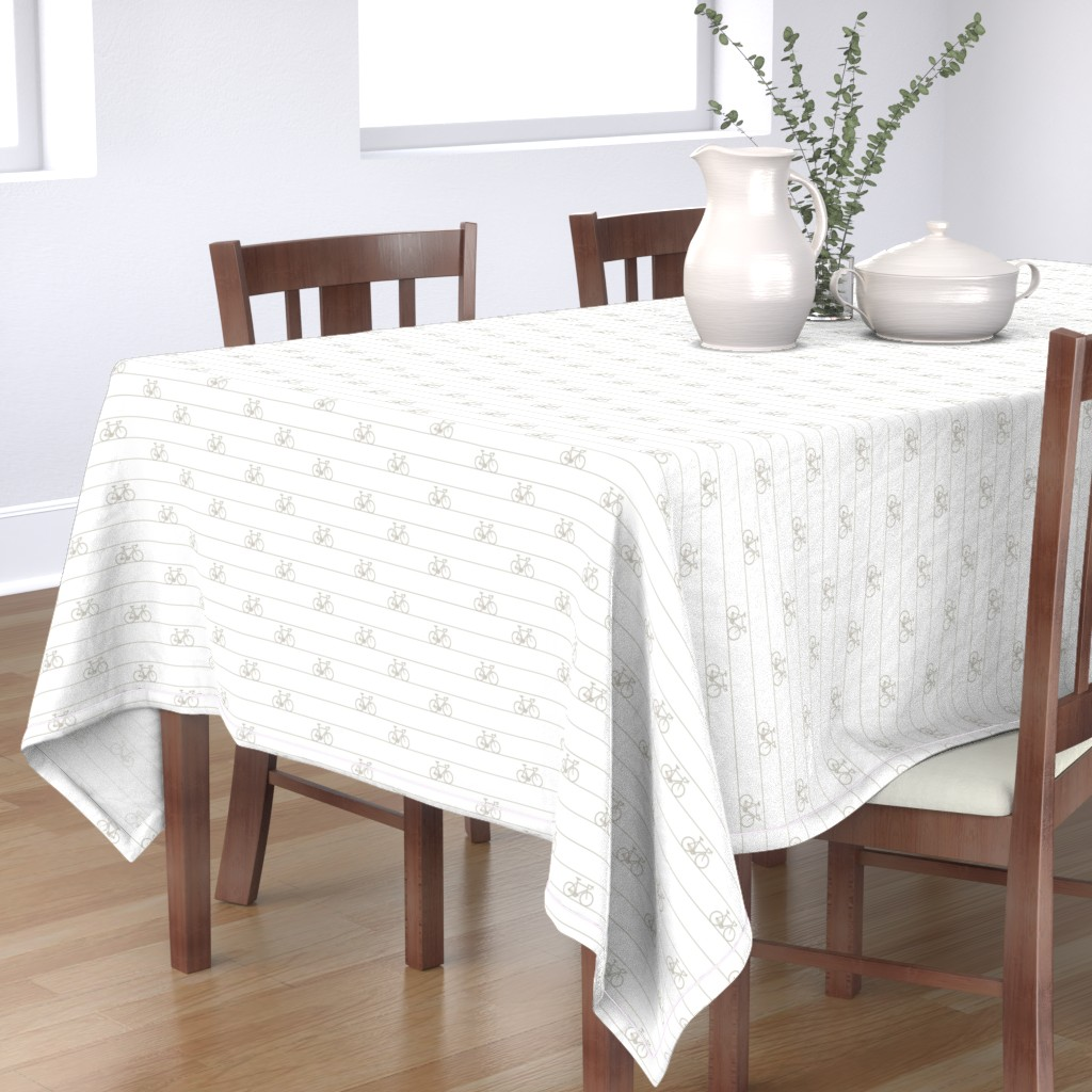 Bantam Rectangular Tablecloth featuring Le Tour Coordinate - Taupe on White by booboo_collective