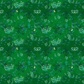 Moonlit Fields of Flowers Green