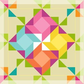 Spring Quilt Pattern, Modern Quilting Pinwheels, Primary Colors