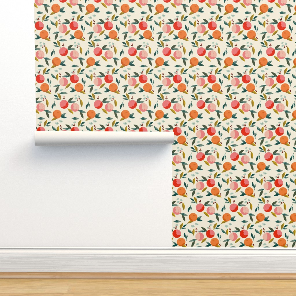Isobar Durable Wallpaper featuring Painted oranges by adelaidebtq