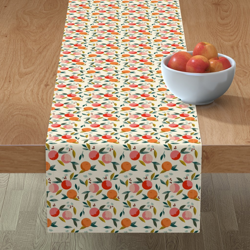 Minorca Table Runner featuring Painted oranges by adelaidebtq