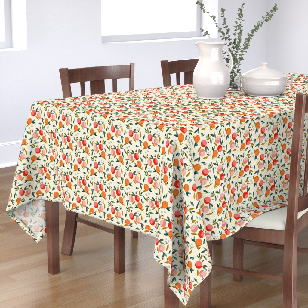 Bantam Rectangular Tablecloth featuring Painted oranges by adelaidebtq