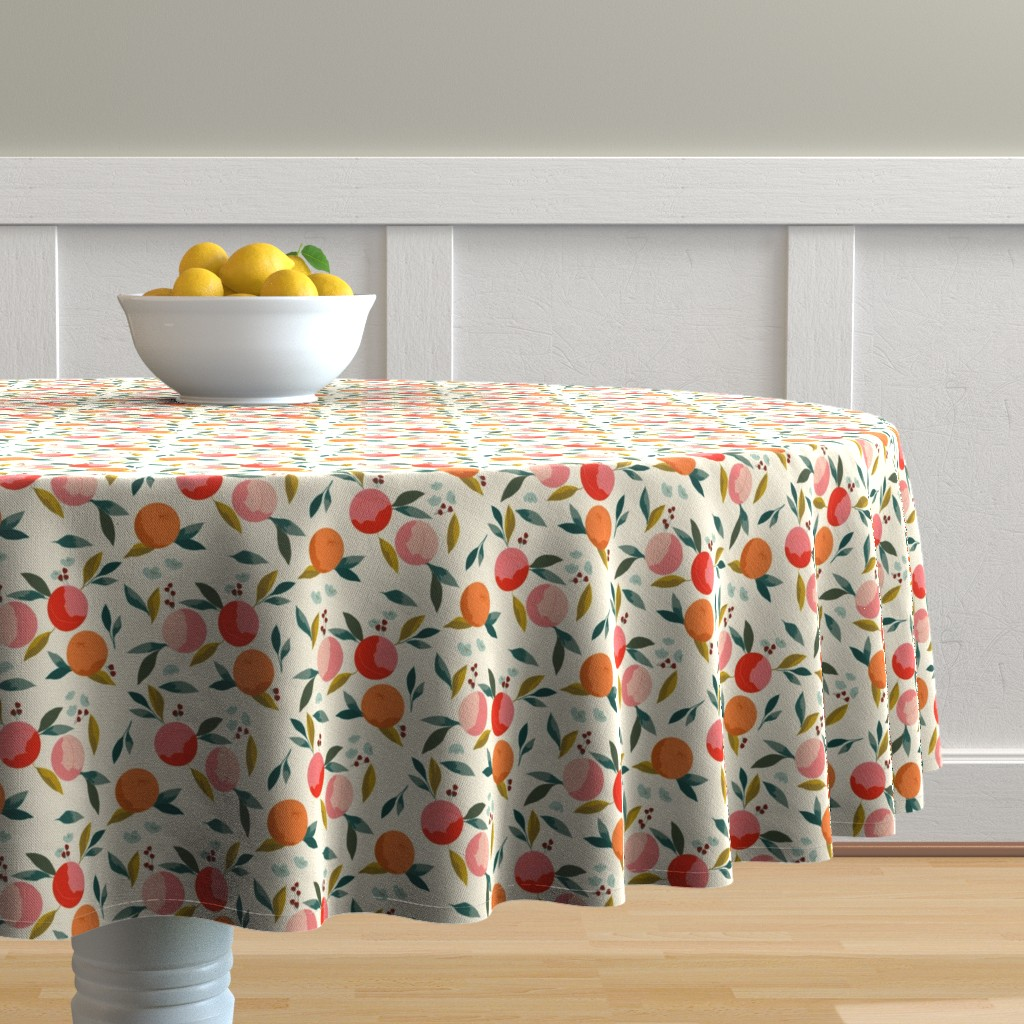 Malay Round Tablecloth featuring Painted oranges by adelaidebtq