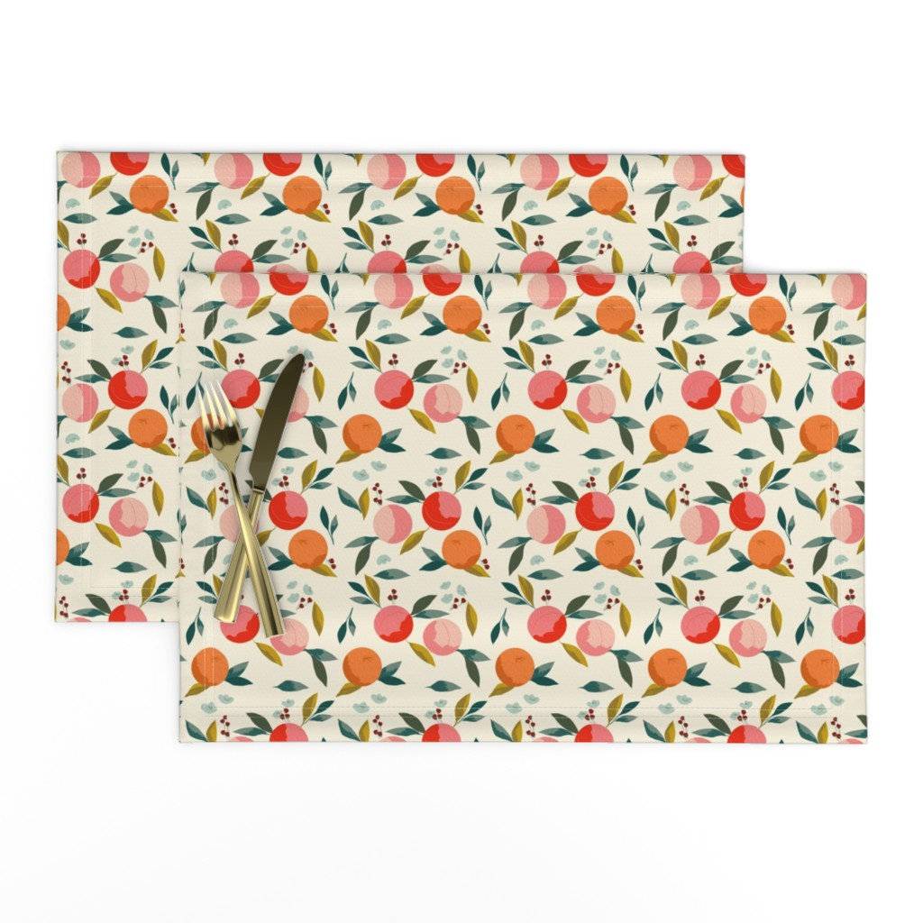 Lamona Cloth Placemats featuring Painted oranges by adelaidebtq